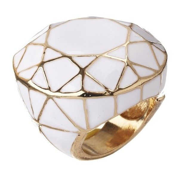 Geometric Statement Ring ❤ liked on Polyvore