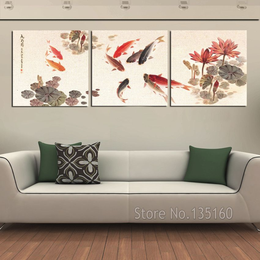 3 Piece Wall Art Picture Traditional Chinese Calligraphy Painting Koi Fish Lotus Canvas Prints For Livi 3 Piece Wall Art Wall Art Pictures Multi Piece Wall Art