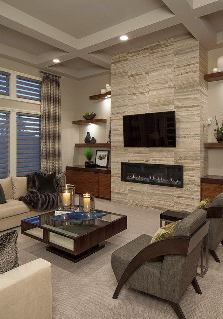18 Lovely Living Room Designs With Wall Mounted TV Decor and