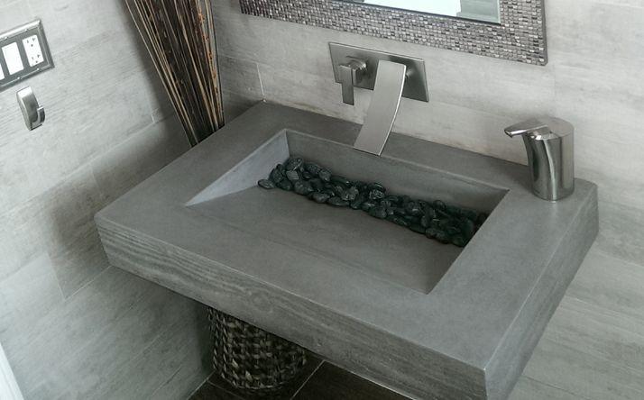 Custom Concrete Bathroom Sinks Trough Ramp Sink