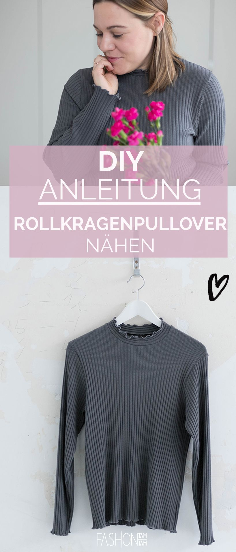 DIY: Rollkragenpullover nähen | Rollkragenpullover ...