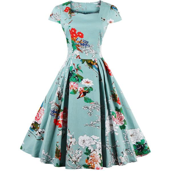 Light Blue Sweetheart Neck Cap Sleeve Floral Skater Dress ($43) ❤ liked on Polyvore featuring dresses, floral dresses, floral-print dresses, floral print skater dress, flower print dress and light blue skater dress