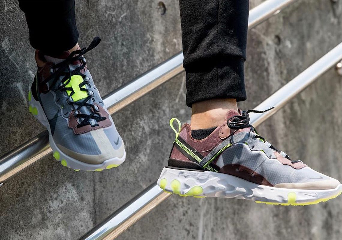 df386ede0a6f Nike React Element 87 Dark Grey Desert Sand Release Info