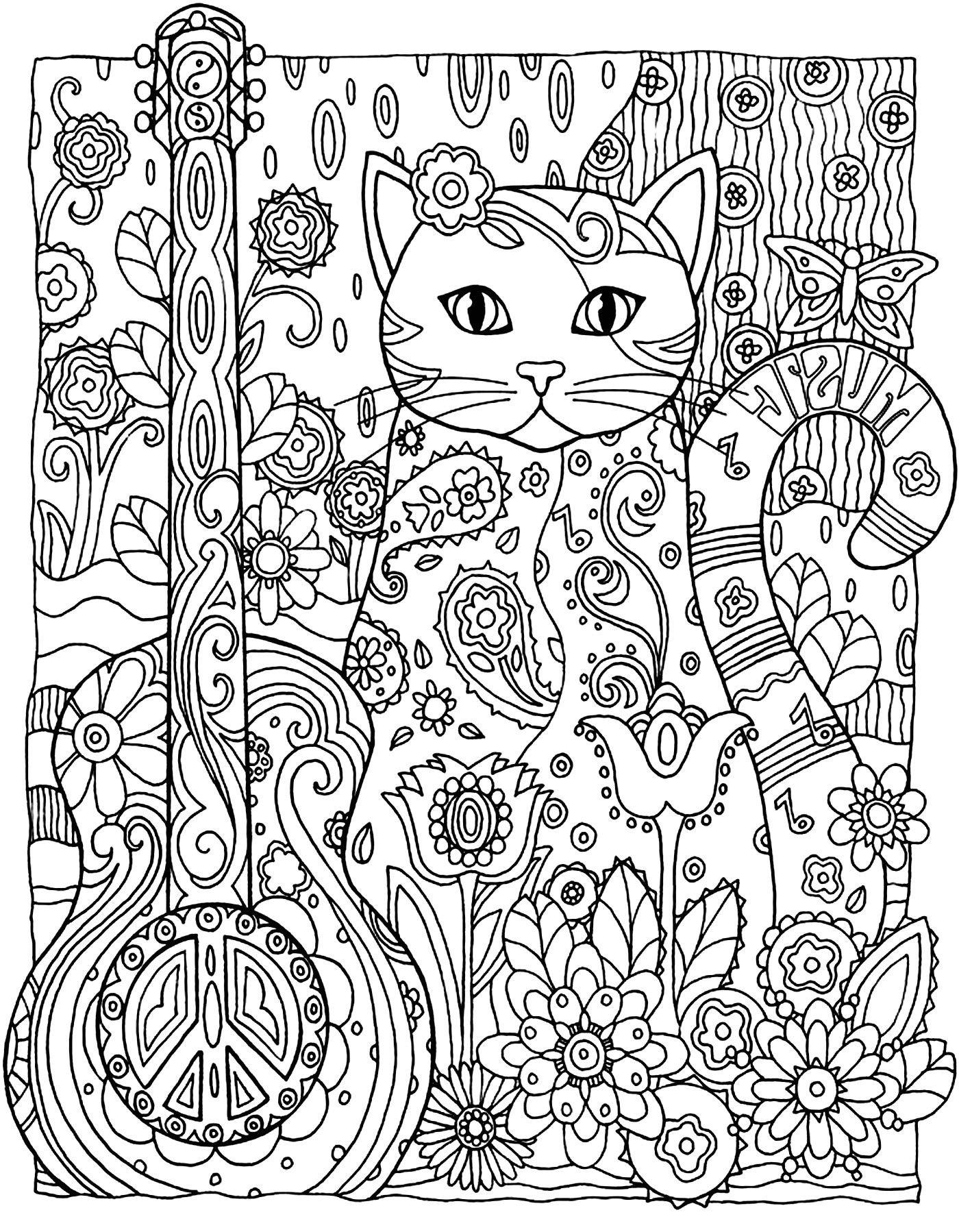 Coloriage Difficile Animaux A Imprimer Coloriage Mandala De Chat A
