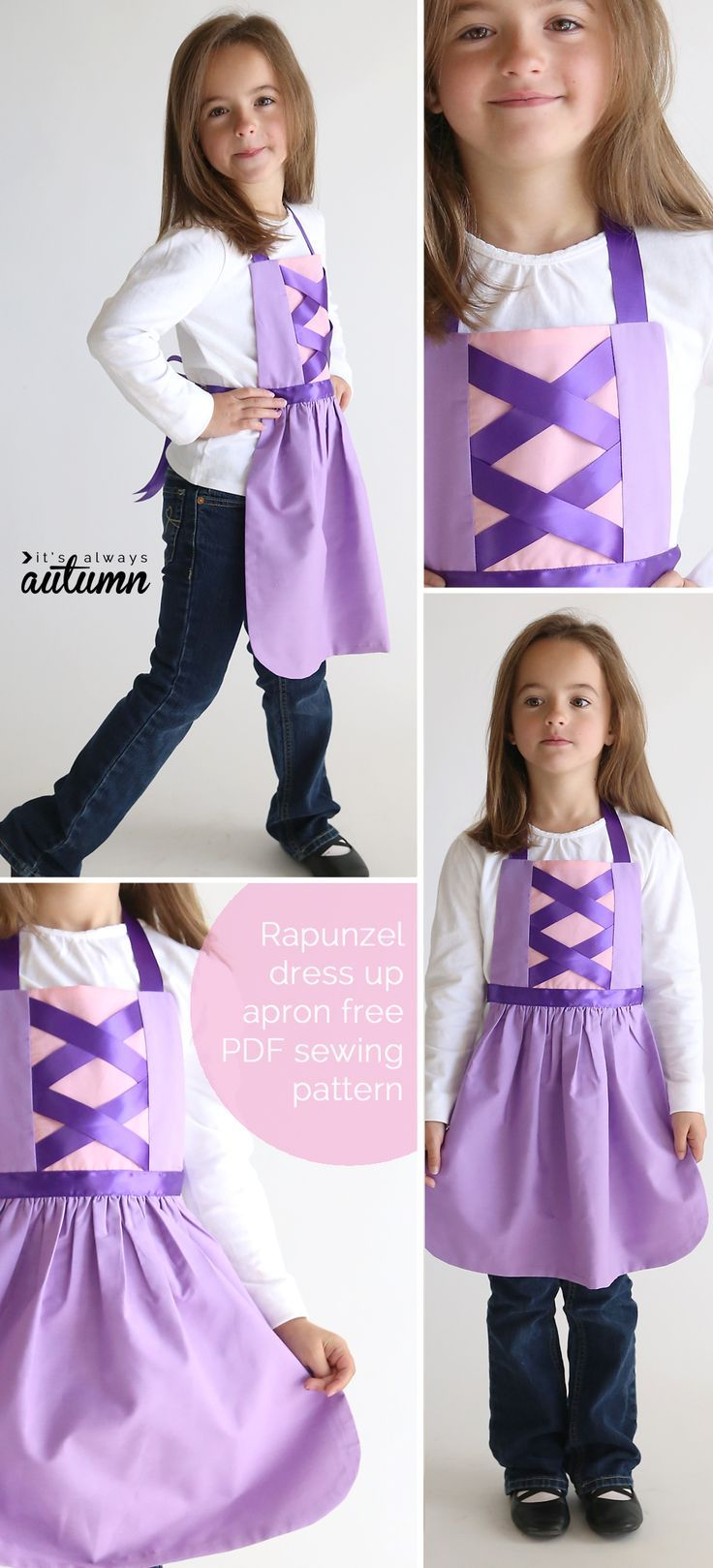 free sewing pattern for Rapunzel dress up apron | Basteln