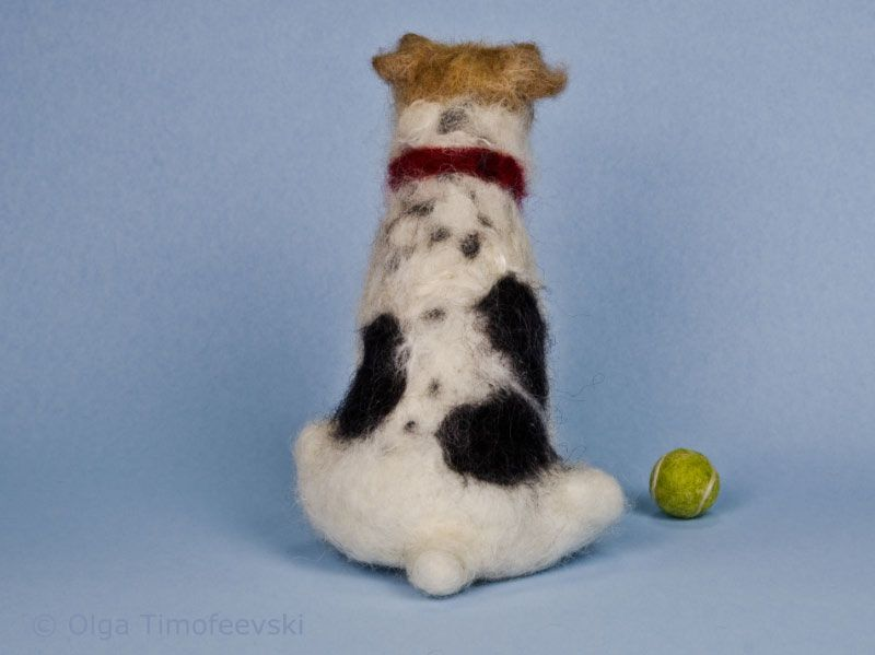 Sydney the Wire Fox Terrier with a tennis ball needle felted ...
