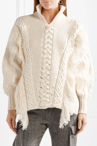 195fe658 Burberry - Oversized Fringed Cable-knit Cotton-blend Sweater - Off-white