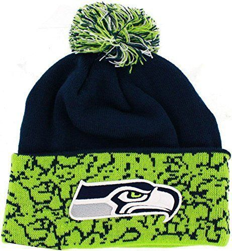 d7410acb3 NFL Seahawks cuffed chaos Knit Hat one size with pom beanie  SeattleSeahawks
