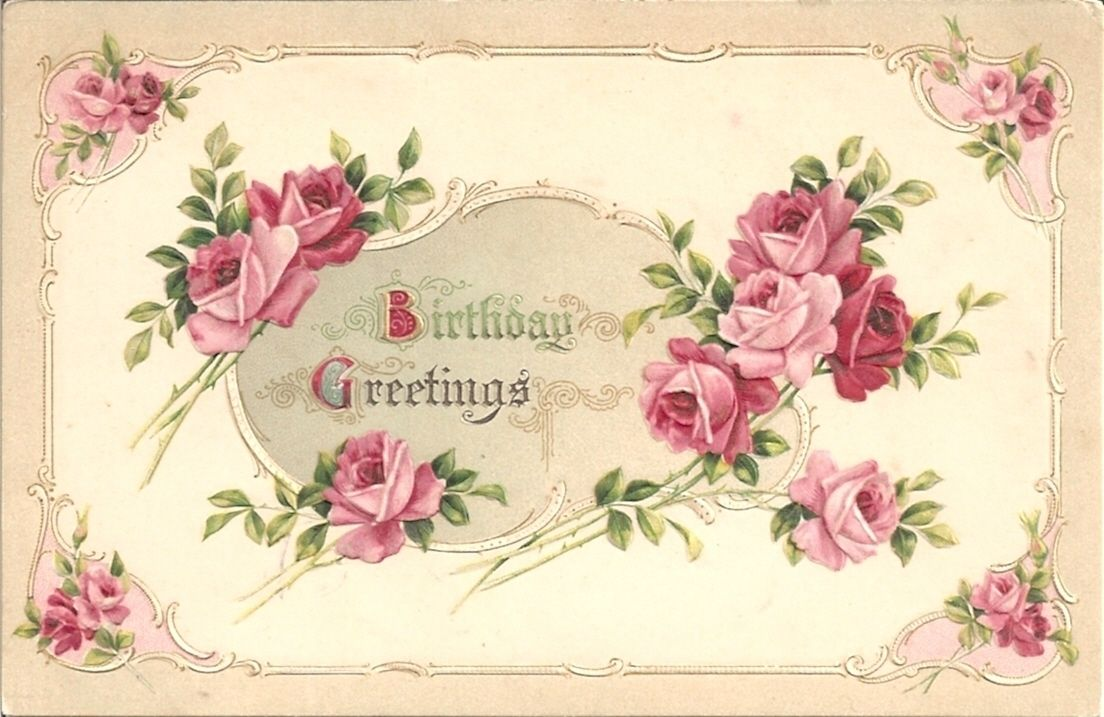 Lovely pink rose filled vintage birthday greetings. #vintage #birthday #cards