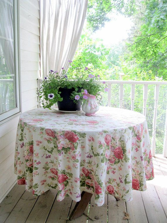 Roses Round Large Tablecloth Romantic Home Decor Vintage