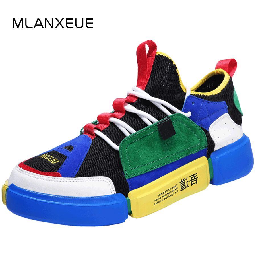 9aba1275a38d MLANXEUE New Unisex Casual Shoe Air Breathable Mix Color Lovers Shoes  Non-slip Men Shoes Plus Size36-44 Casual Male Shoes