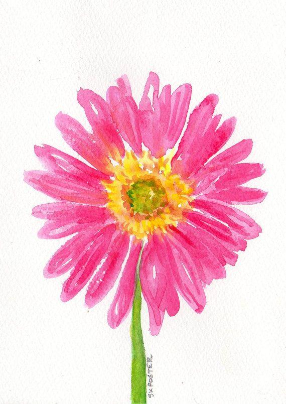 Pink Painting Gerbera Daisy 5 X 7 Original Watercolor Painting