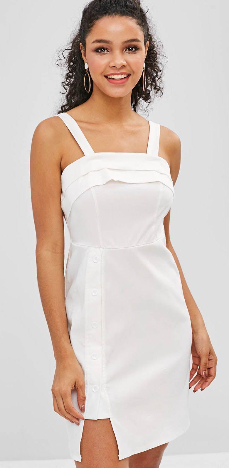 Zaful Layered Buttoned Mini Dress White Classy Dress White Mini Dress Mini Dress [ 1596 x 780 Pixel ]