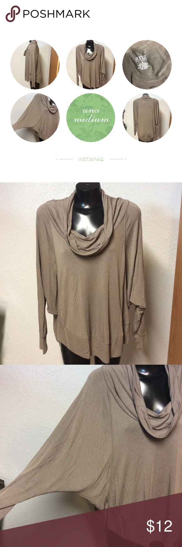 A. N. A.  stone top Batwing sleeves cowl neckline. Rayon polyester blend. a.n.a Tops Blouses