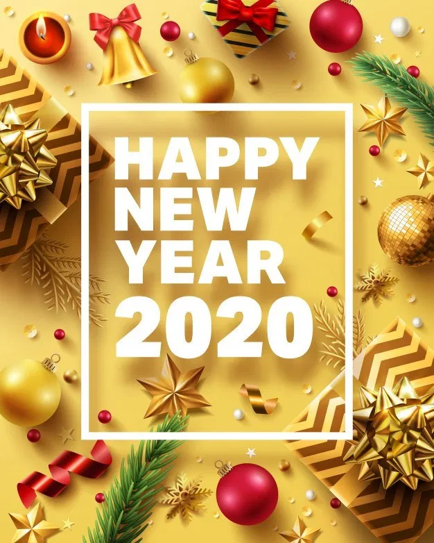 Christmas And New Year Vector 2020 Golden Invitation H69 Design New Year 2020 Christmas Vectors Christmas And New Year