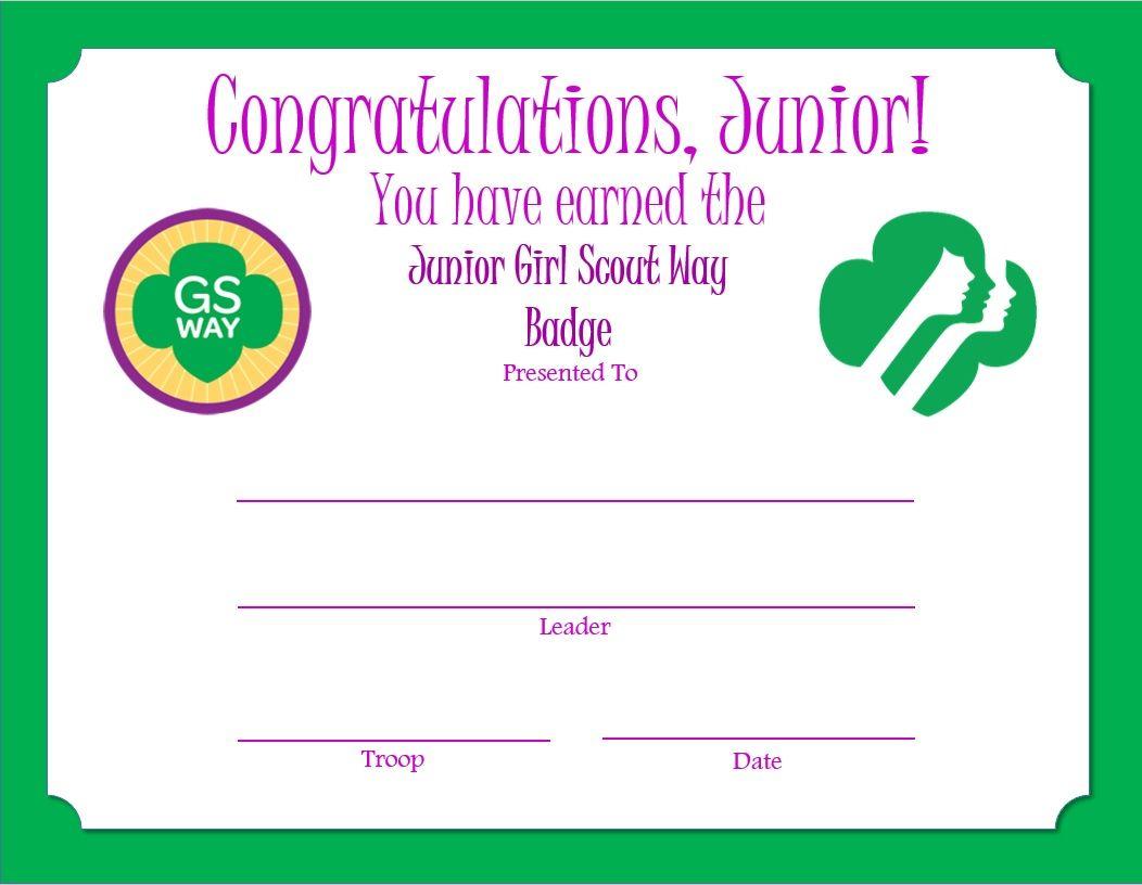 Junior Girl Scout Way Badge Certificate