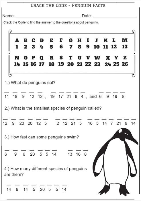 Crack the Code – Penguin Facts – Codebreaker Worksheet