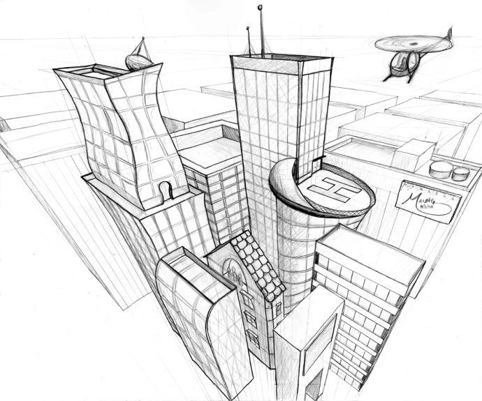 4 point perspective city - Google Search | Perspective | Pinterest ...