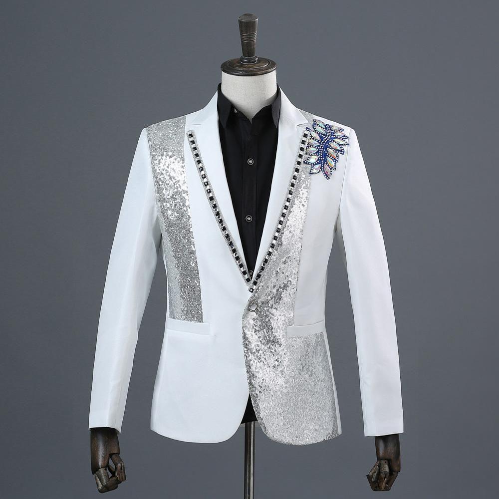 PYJTRL Male Black White Sequins Inlaid Crystal Stage Show Singer Suit  Jacket Wedding Mens Blazer Fashion Masculino Slim Fit cd66b9127a00