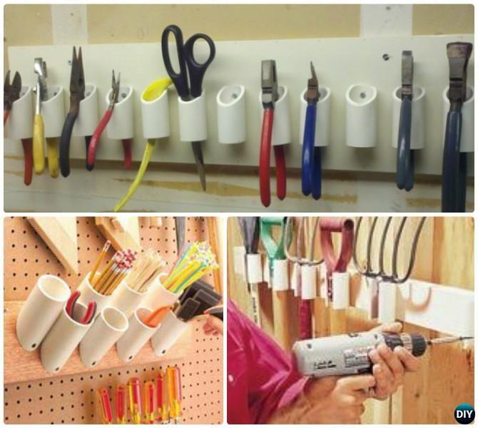 DIY PVC Garden Tool Holder Instructions Garden Tool Organizer DIY Ideas  Projects #Garage