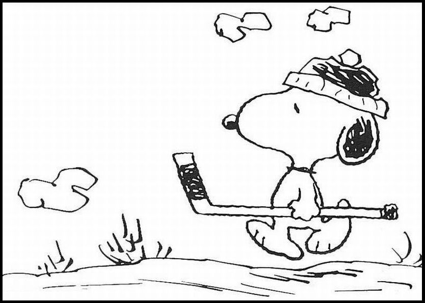 Snoopy Want To Play Hockey coloring picture for kids | Snoopy ...