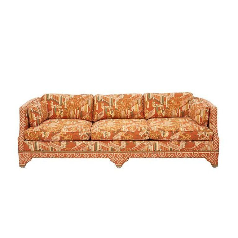 Sofa With Vintage Graphic Chinoiserie