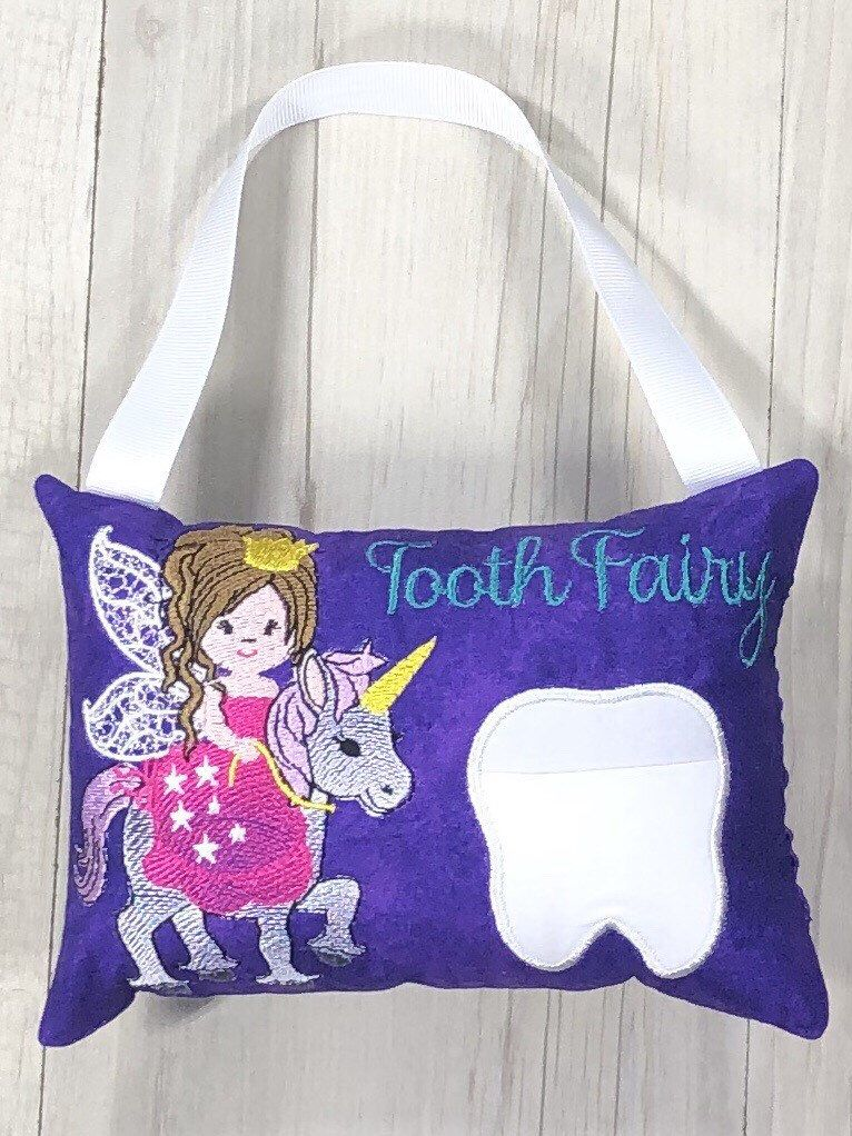 Tooth Fairy Pillow Unicorn Baby Tooth Pocket Girl Birthday Gift Keepsake Tooth Cushion