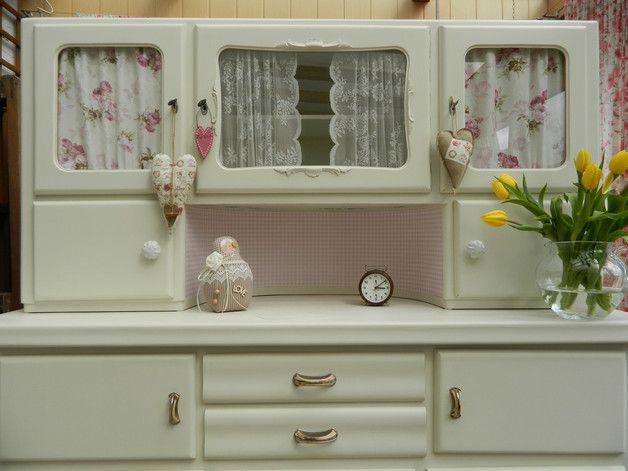 k chenbuffet mit vitrine oma s k chenschrank shabby chic er wurde berarbeitet und neugestr. Black Bedroom Furniture Sets. Home Design Ideas