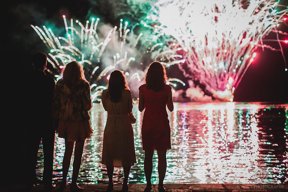 Fireworks at a Muskoka Wedding.