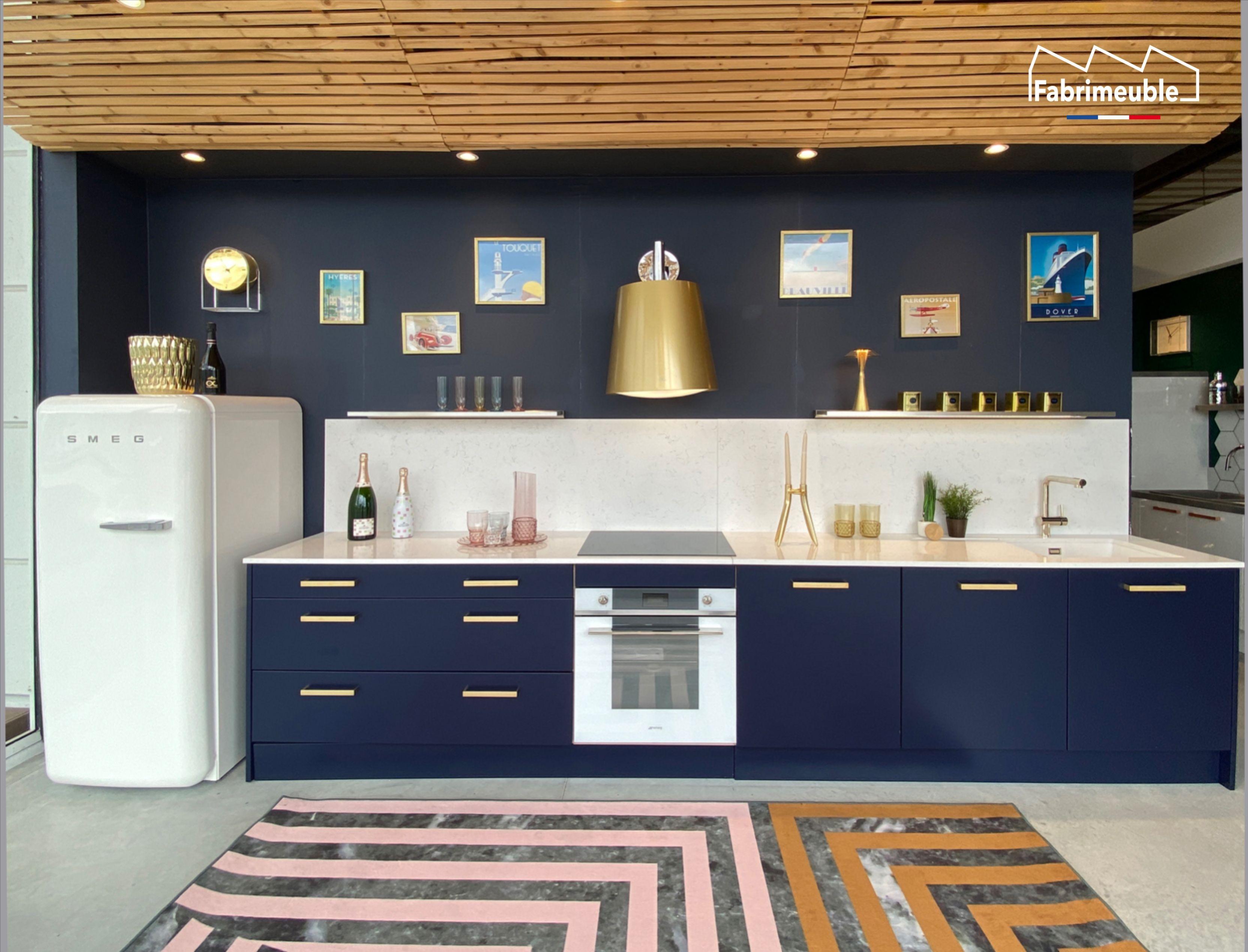 Cuisine Bleu Nuit Bleu Marine Et Or Art Deco Made In France En 2020 Poignee Meuble Cuisine Meuble Cuisine Fabricant Cuisine
