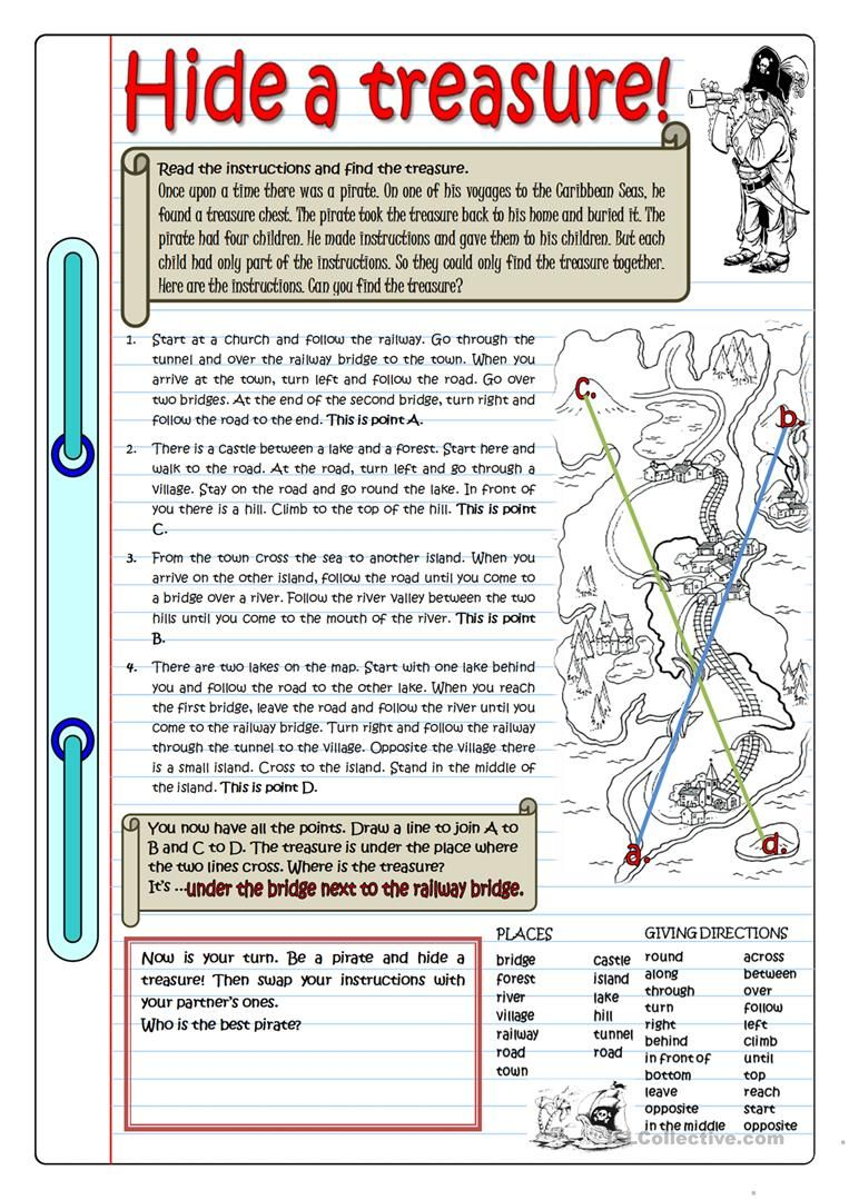 Hide A Treasure English Esl Worksheets For Distance Learning And Physical Classro Reading Skills Worksheets Grammar Practice Reading Comprehension Worksheets [ 1079 x 763 Pixel ]
