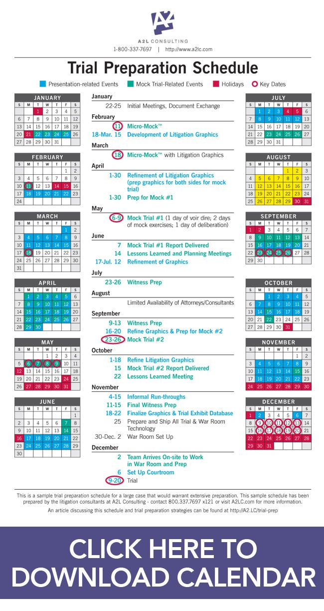 A Sample Trial Preparation Calendar For Litigators Focused On High