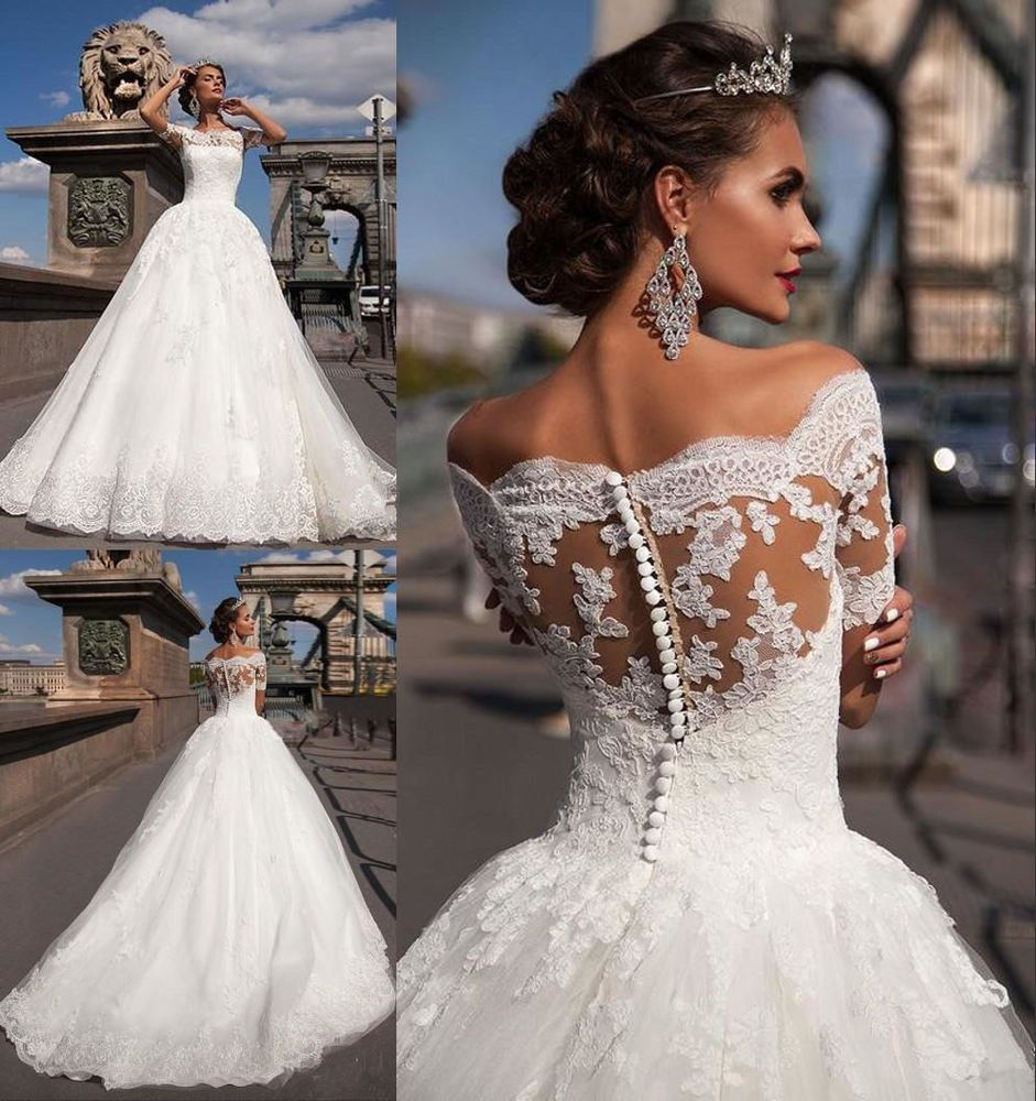 Neu Kurzarm Spitze Brautkleider Hochzeitskleid Ballkleid Gr:12/12