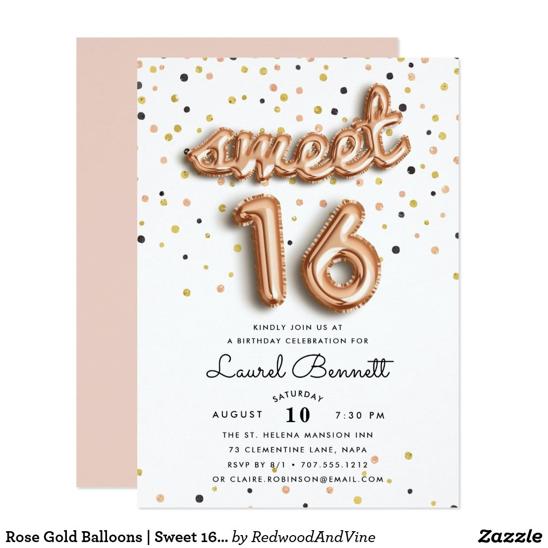 Rose gold balloons sweet 16 party invitation gold balloons rose gold balloons sweet 16 party invitation monicamarmolfo Image collections