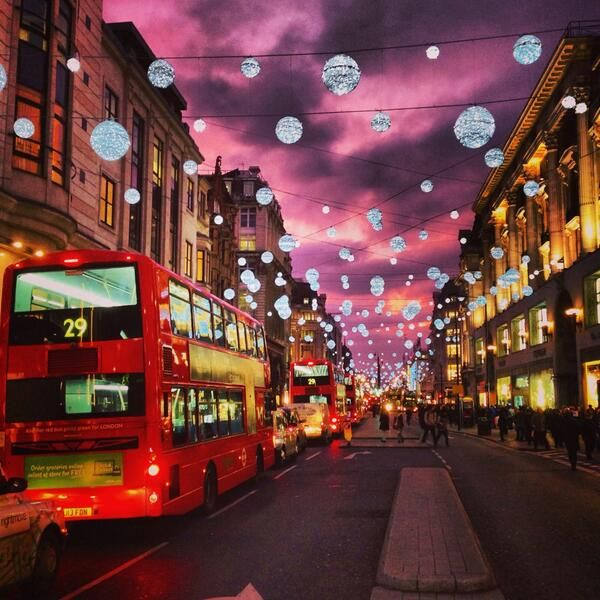 Christmas Places To Visit In London: Oxford Street Sunset December 1st, 2013 By Evan Edinger