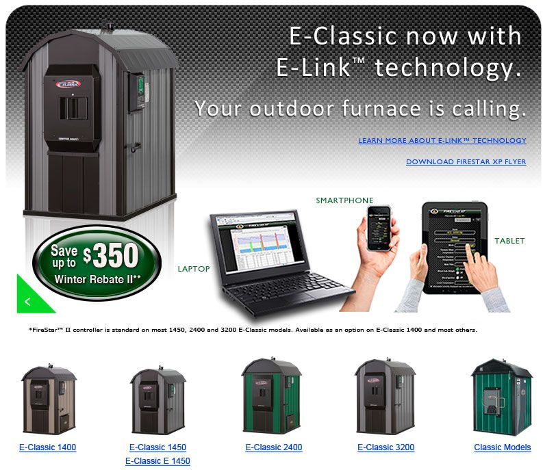 Central Boiler outdoor wood furnace - located outside the home and ...