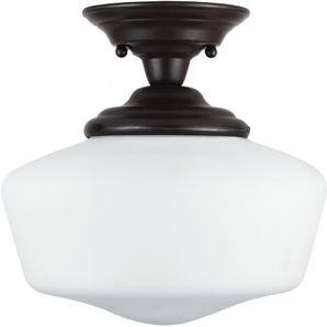 heirloom bronze academy semi flush light fixture with satin white