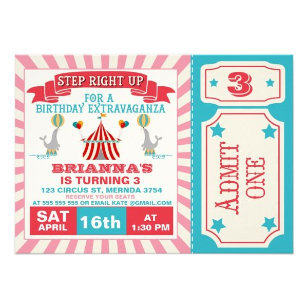Girls Circus Ticket Birthday Party Invitation