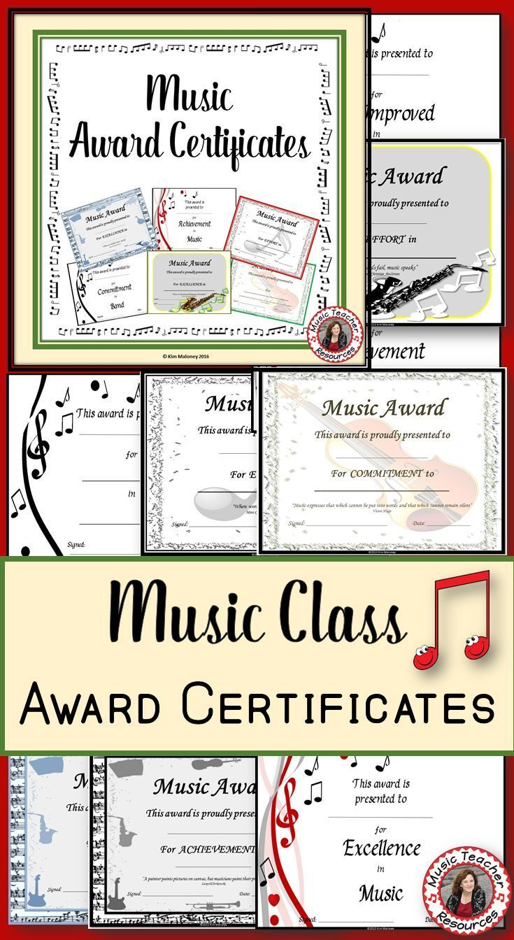 music awards editable music award certificates music teacher