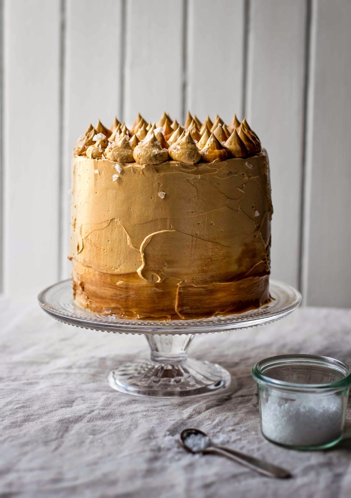 Salted Caramel Cake Recipe recipe; salted caramel coma cake & toffee buttercream frosting