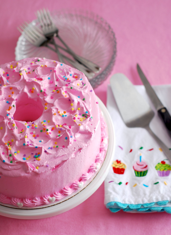 Brown sugar angel food cake with italian meringue frosting