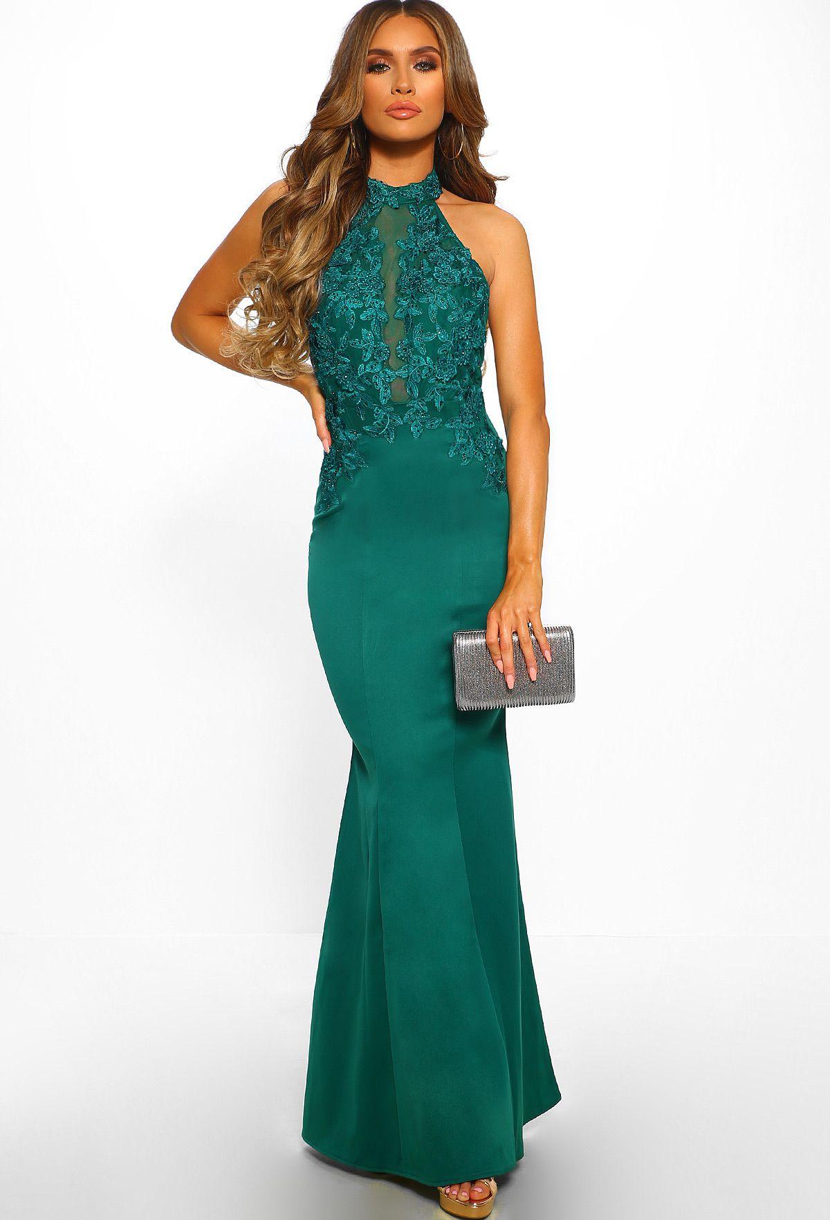 f223769a2e Worlds Apart Green Embroidered Halterneck Maxi Dress