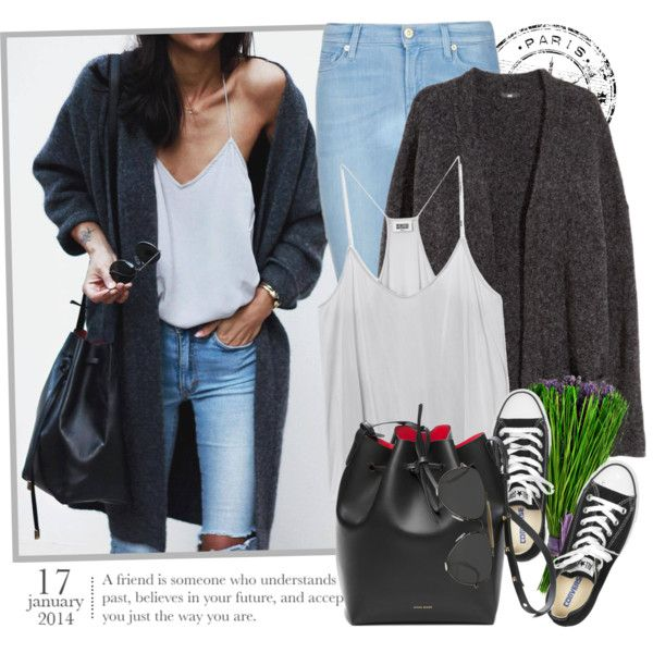 2162. Get The Look by chocolatepumma on Polyvore featuring mode, H&M, 7 For All Mankind, Converse, CÉLINE, GetTheLook, converse, CasualChic, inspiration and sweaterweather