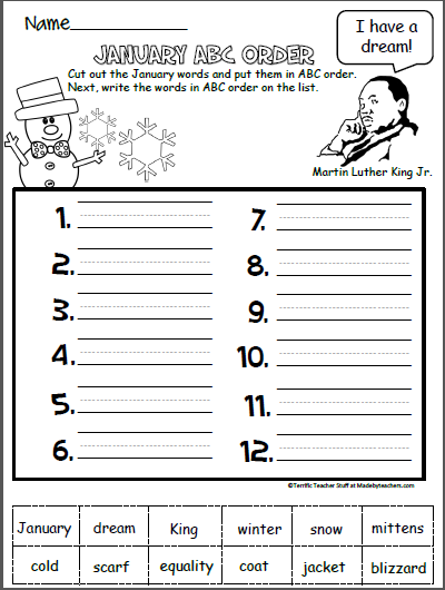 abc order worksheet for january school winter worksheets winter activities 100 days of. Black Bedroom Furniture Sets. Home Design Ideas