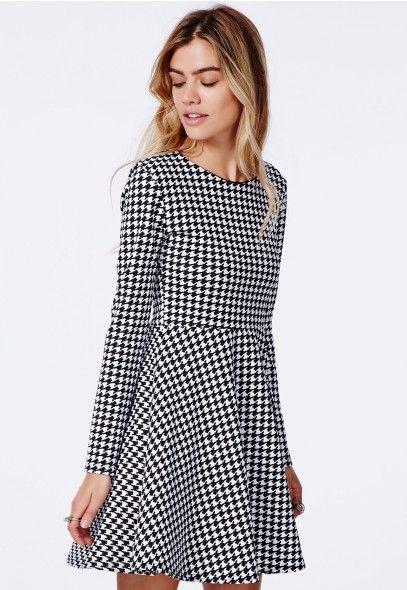 0029a27d51 Bechtolda Dogtooth Print Skater Dress - Skater Dresses - Missguided ...