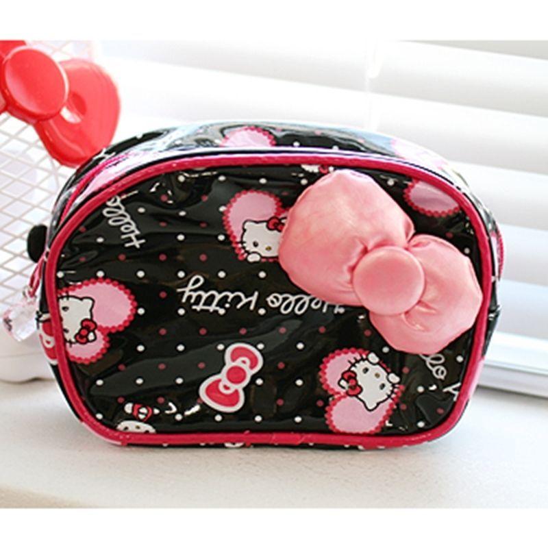 Sanrio Original Japan Hello Kitty Big Ribbon Pouch Black Cosmetic Multi  Pouch 167b8d02a324a