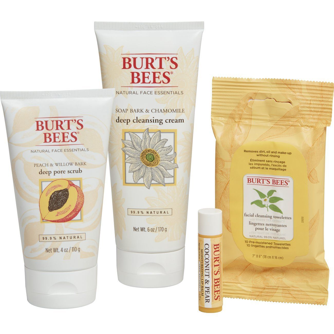 Burt S Bees Face Essentials Gift Set 4 Skin Care Products Cleansing Towelettes Deep Cleansing Cream Deep Pore Sc Burts Bees Face Skin Care Women Skin Care