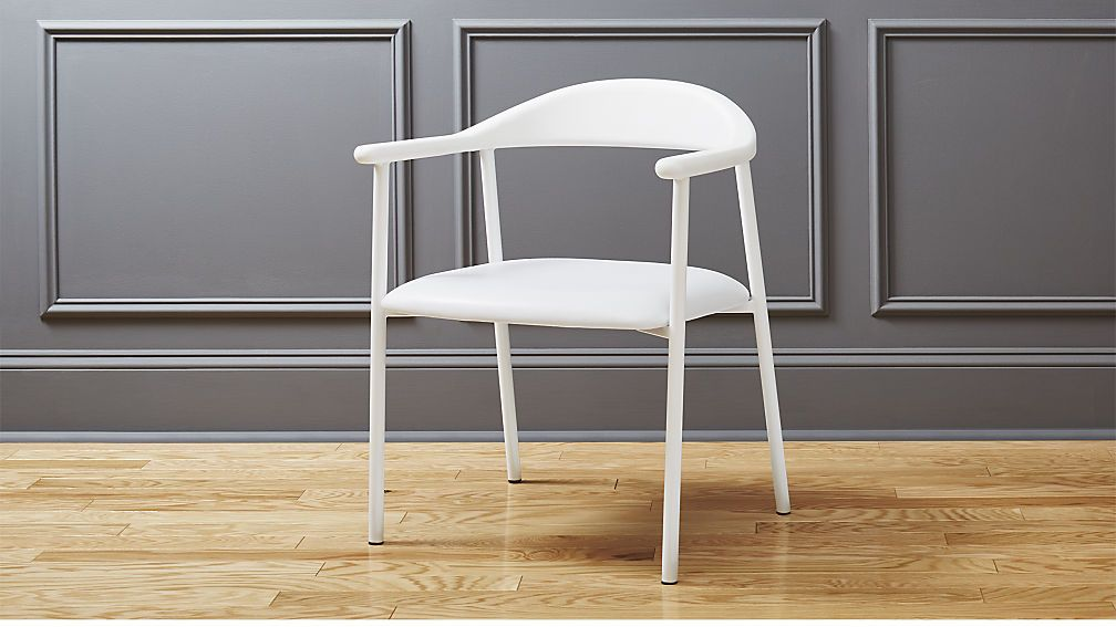 Thea White Faux Leather Chair Cb2