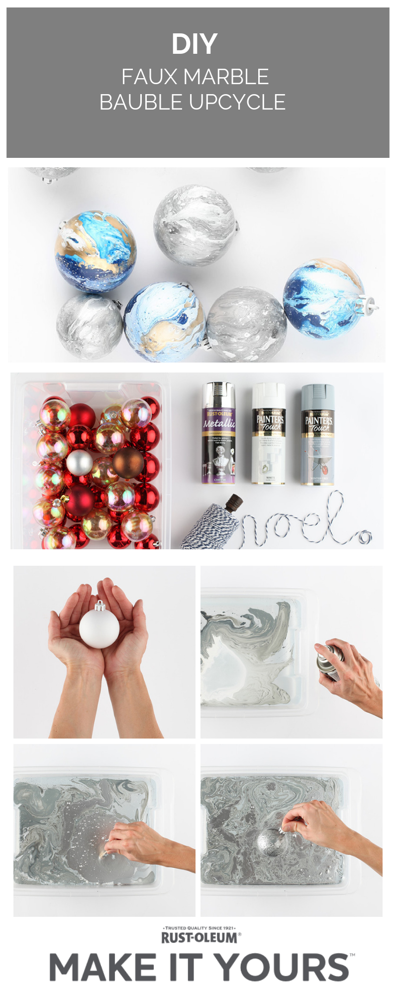 How To Upcycle Christmas Baubles With Rust Oleum Spray Paint Christmas Baubles Christmas Decor Diy Painted Christmas Ornaments