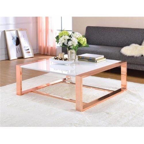 Benzara BM 16 x 40 x 40 in Charming Coffee Table White High